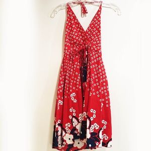 Funky People Red Floral sun dress Sz M